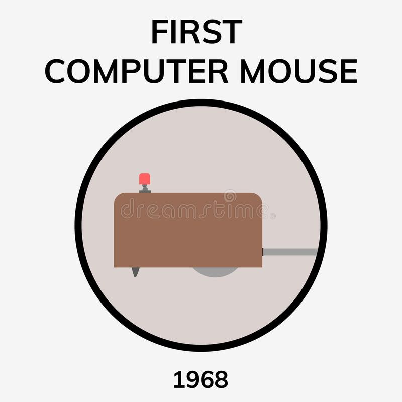 Computer mouse day. First computer mouse. 1968 - 50 years of computer mouse. Flat illustration royalty free illustration