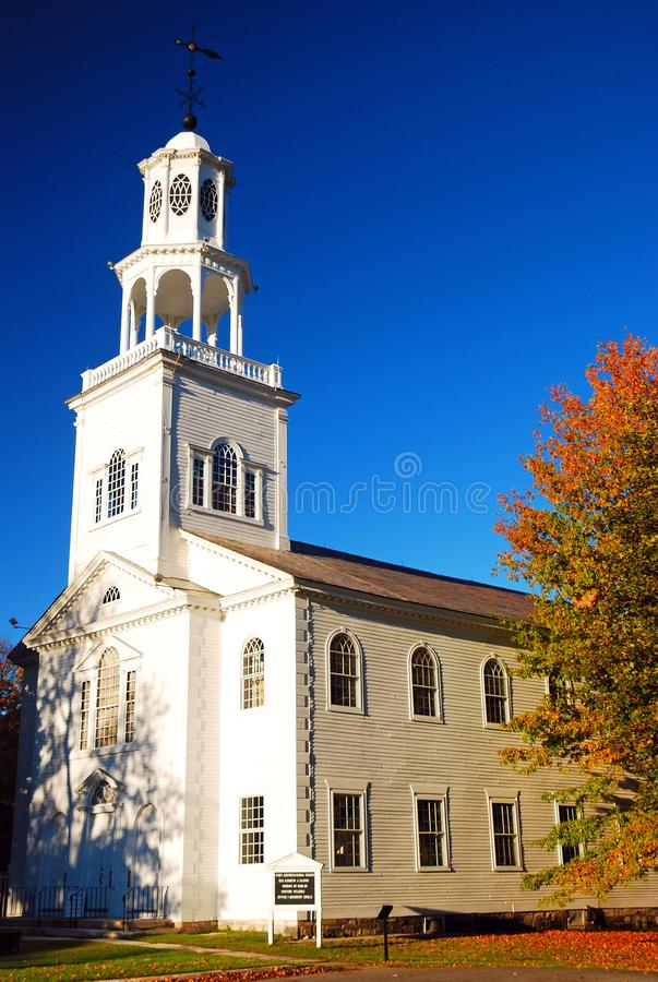 First Congregational Church in Bennington, VT. The First Congregational Church in Bennington Vermont is set amongst the autumn foliage royalty free stock photography