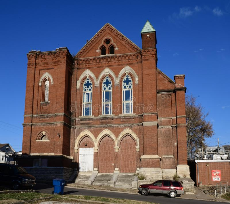 First Congregational Church. This is a Fall picture of the First Congregational Church located in Hannibal, Missouri in Ralls County. This Gothic brick church stock photography