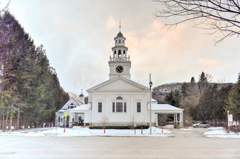 First Congregational Church - Woodstock, Vermont. The First Congregational Church is an active Congregational church in Woodstock, Vermont. The original building royalty free stock photos