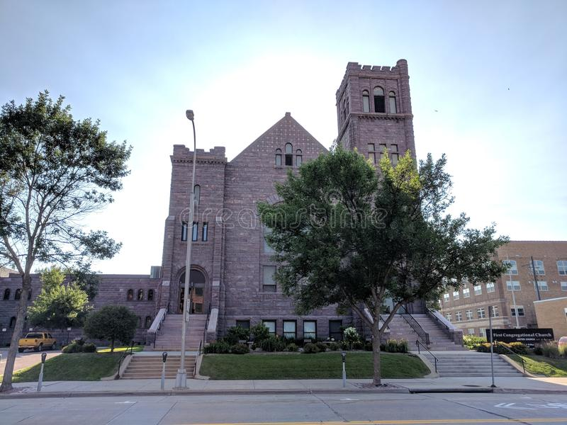 First Congressional Church, Sioux Falls. The sun behind this downtown Sioux Falls church gives a very dramatic, uplifting effect. A South Dakota First stock photo