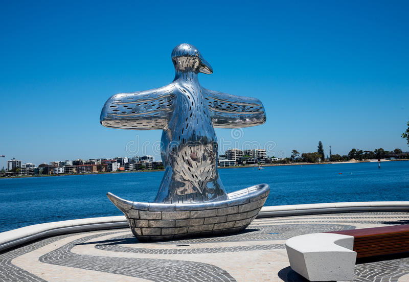 First contact bird art sculpture near Elizabeth Quay and Swan river waterfront in Perth City stock photography