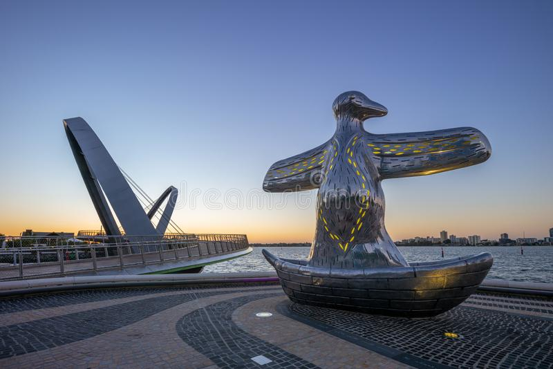 First Contact Sculpture, Elizabeth harbour, perth stock image