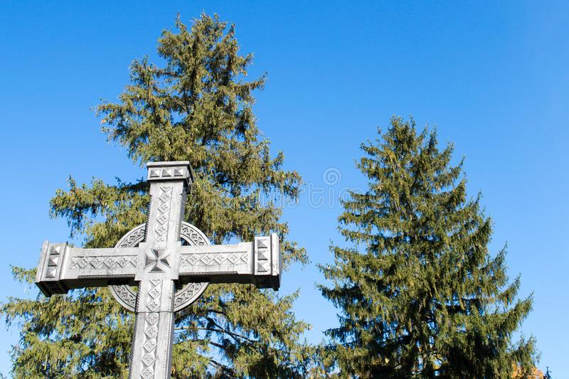 The first cross on the grave of Taras Shevchenko on Taras Hill Chernecha Hora in Kaniv, Ukraine on. KANIV, UKRAINE - OCTOBER 14: The first cross on the grave of stock image