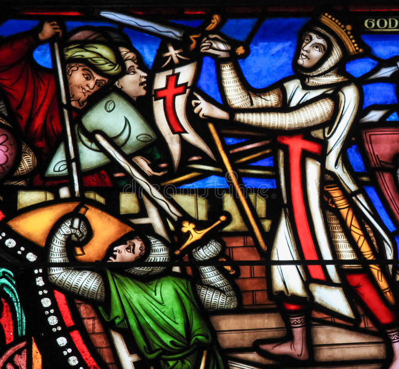 First Crusade - Stained Glass. Stained glass window depicting the First Crusade and Godfrey of Bouillon, in the cathedral of Brussels royalty free stock photo