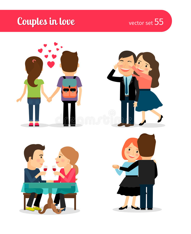 First date of happy couple royalty free illustration