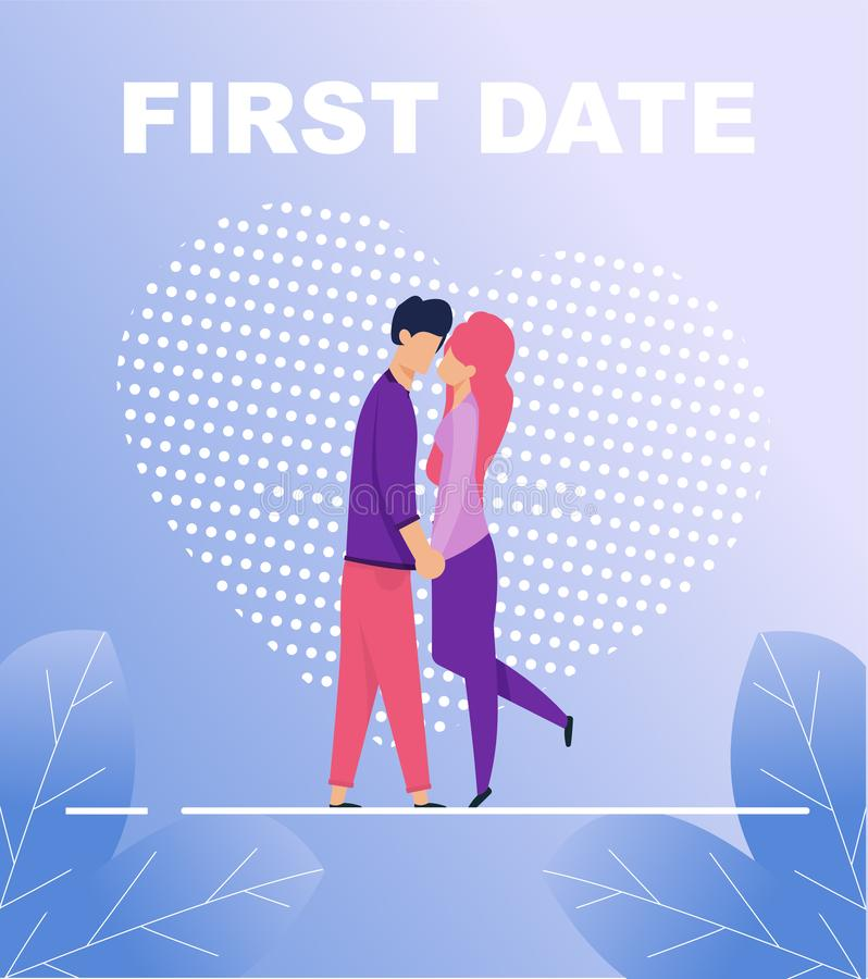 First Date Poster with Two Kissing People in Love. First Date Poster. Two Kissing People Falling in Love. Flat Cartoon Man and Woman Characters Hugging over Huge royalty free illustration