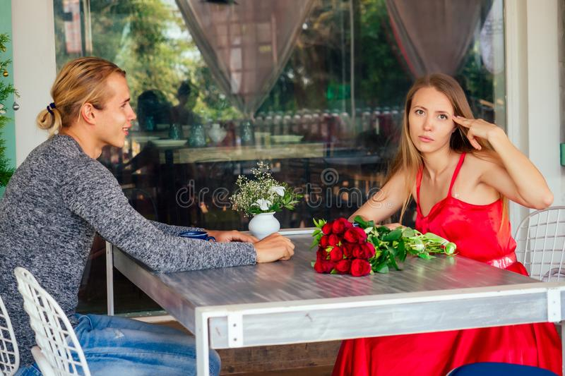 First date spending time together ignoring real communication bored conversation disappoint couple in restaurant, bad royalty free stock photos