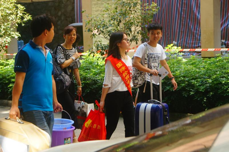 Guangzhou, China: on the first day of college, many freshmen arrive at the university campus. On the first day of college in guangzhou, many freshmen come to the royalty free stock images