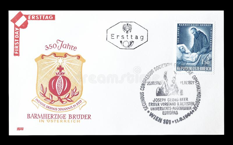 First Day Cover letter printed by Austria. Cancelled First Day Cover letter printed by Austria, that shows Brothers of mercy royalty free stock photos