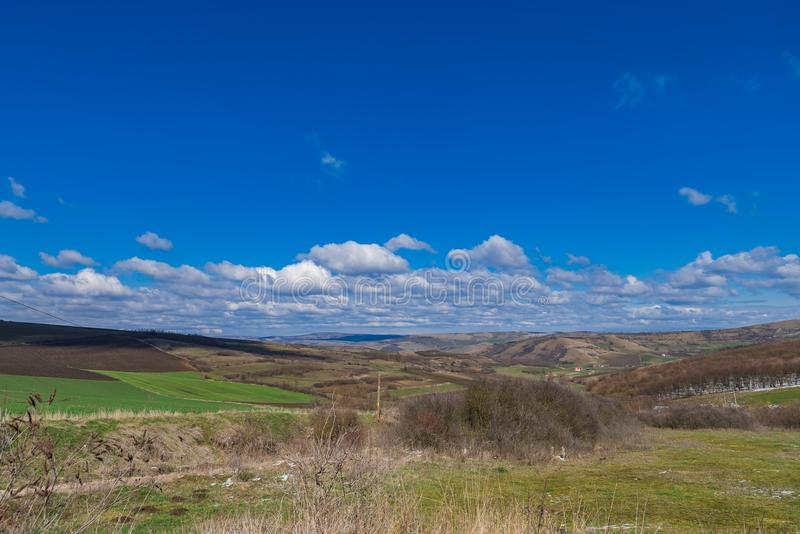 First day of spring landscape royalty free stock photography