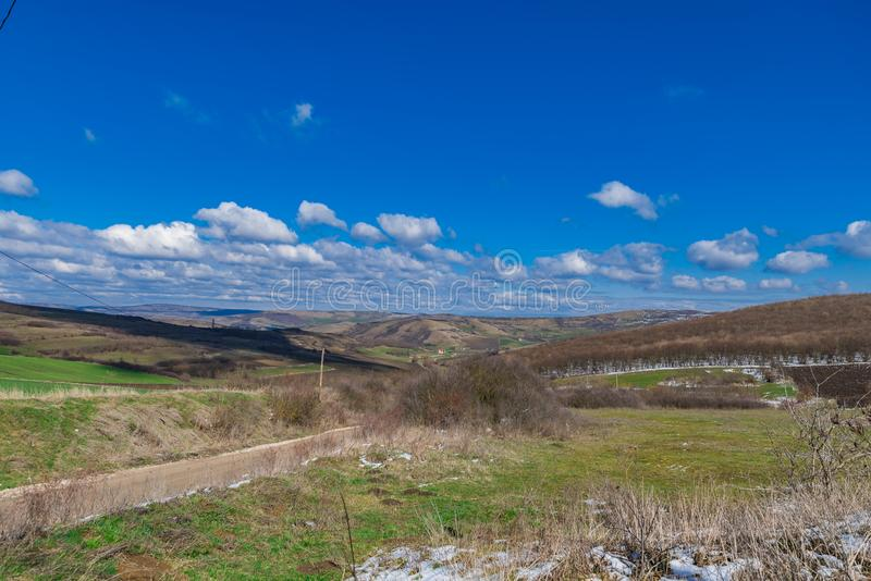First day of spring landscape royalty free stock photos