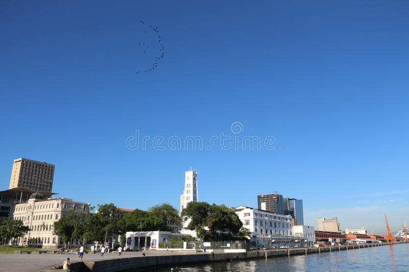 First day of summer in Brazil. Rio de Janeiro, Brazil, December 21, 2016: View of Port Area. Summer officially began in Brazil this morning 21. In Rio de Janeiro royalty free stock images