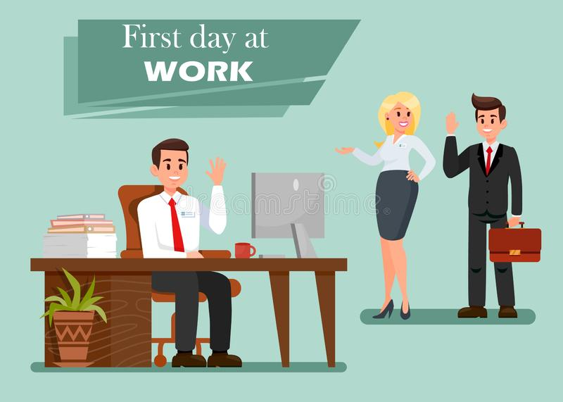 First Day at Work Vector Illustration with Text royalty free illustration