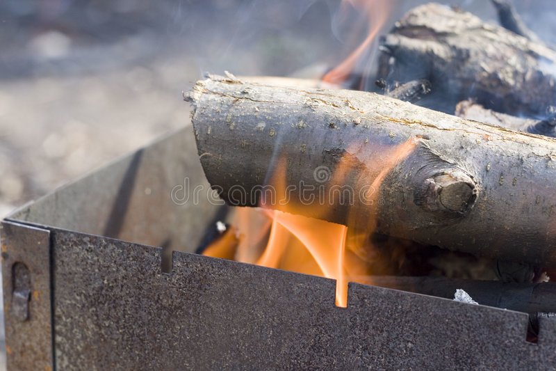 First fire for barbecue stock image