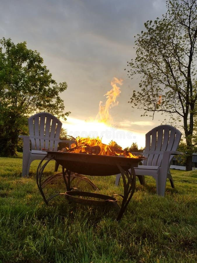 First fire of the season. Fire season summer leisure landscape first stock photo