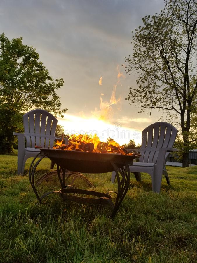 First fire of the season. Fire season summer leisure landscape first stock image
