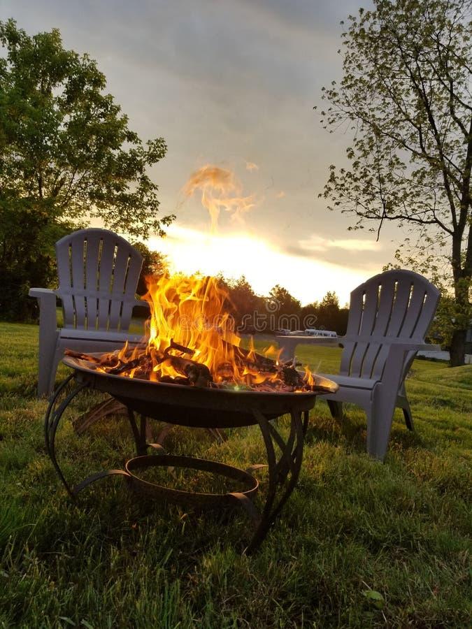 First fire of the season. Fire season summer leisure landscape stock photography