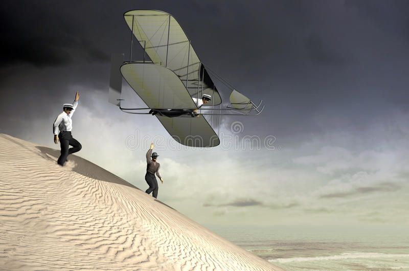 The first flight. Based on the original 1902 photography, recreation of the first airplane flight reached by Orville and Wilbur Wright in Kill Devil Hills vector illustration