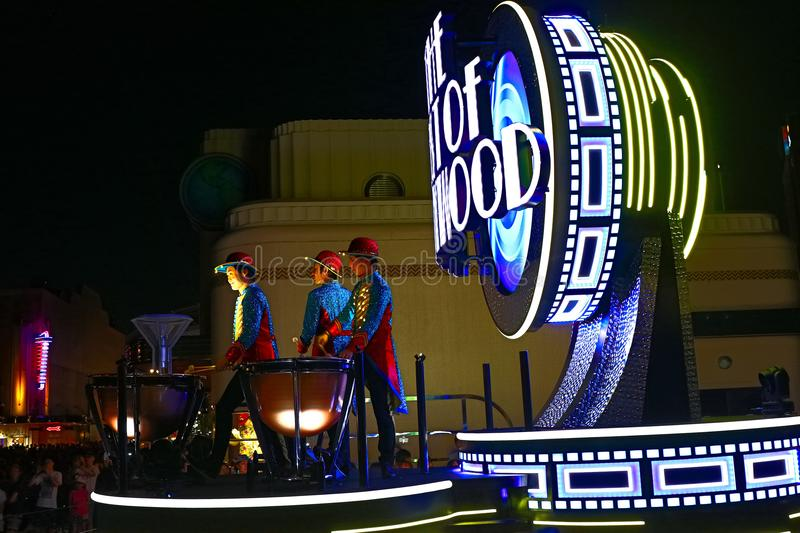 First float of the new revolutionary night`s UNIVERSAL SPECTACLE NIGHT parade stock photos