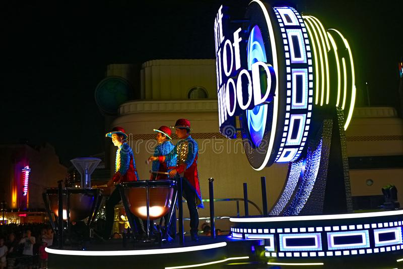 First float of the new revolutionary night`s UNIVERSAL SPECTACLE NIGHT parade royalty free stock images