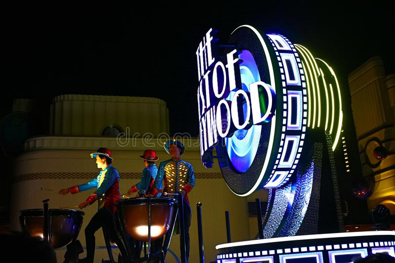 First float of the new revolutionary night`s UNIVERSAL SPECTACLE NIGHT parade stock photography