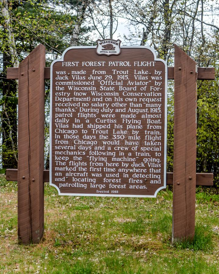 First Forest Patrol Flight - Historical Marker Trout Lake, WI. First Forest Patrol Flight was made from Trout Lake by Jack Vilas June 29, 1915. Vilas was stock photos