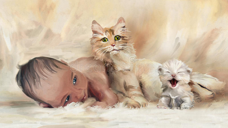 First friends. Portrait of Newborn Baby and kitten with cat. Digital hand drawing simulated oil paintng