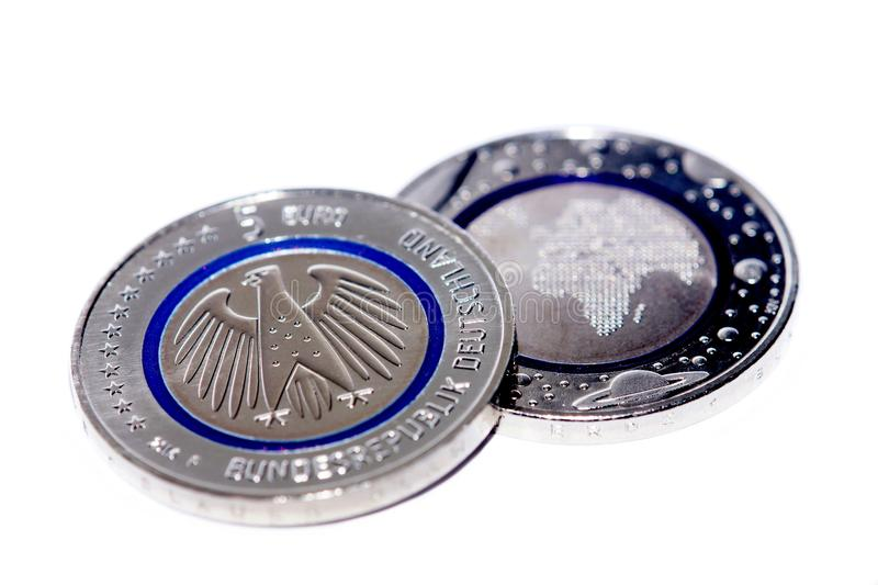 First German Five Euro Coin. With blue polymer ring royalty free stock photography