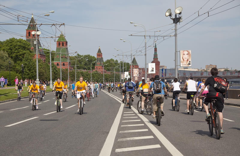 The first great Bicycle ride in Moscow royalty free stock image