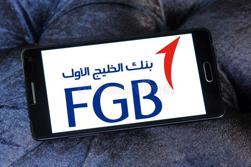 First Gulf Bank, FGB, logo. Logo of First Gulf Bank on samsung mobile. First Gulf Bank is the third largest bank by assets in the United Arab Emirates royalty free stock photos