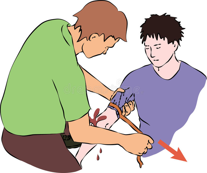 First help - stop blood flow with rubber band. Vector royalty free illustration