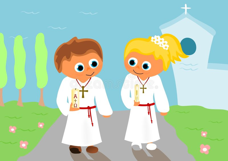 First holy communion 2. Boy and girl at first holy communion in front of church vector illustration