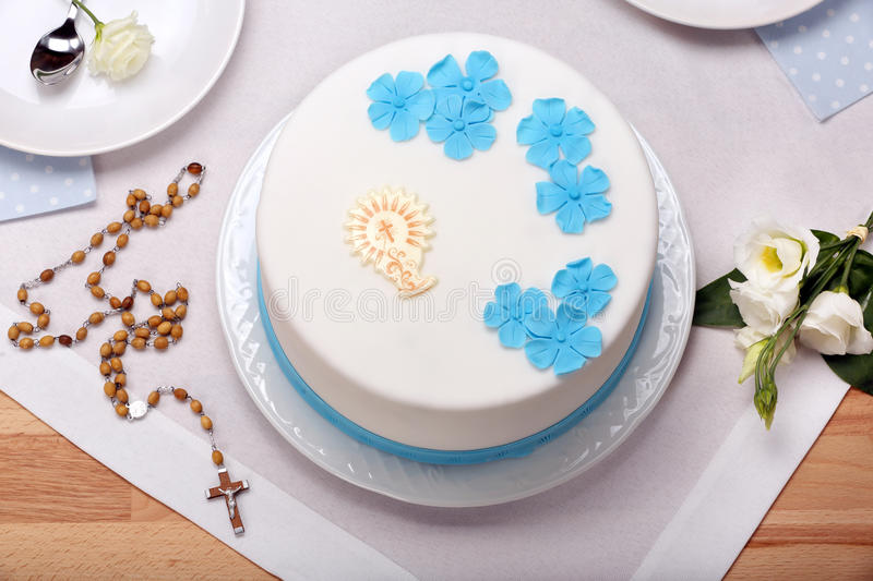 First holy communion cake on the table stock images