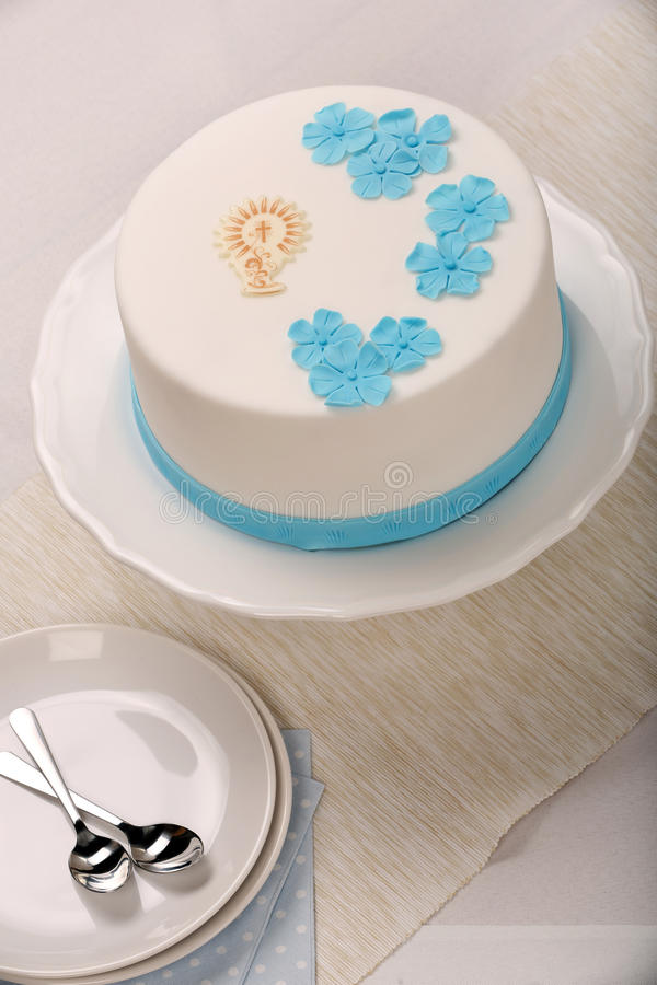 First holy communion cake on the table royalty free stock photo