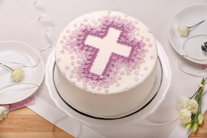 First holy communion cake on the table royalty free stock photos