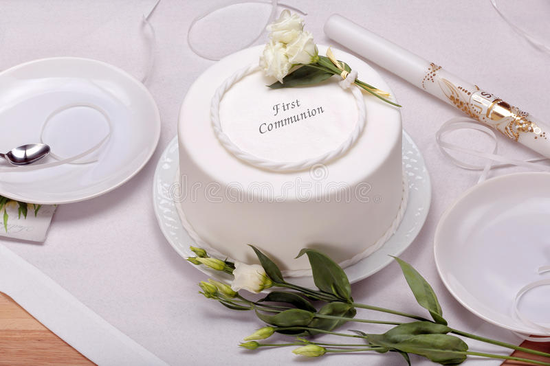 First holy communion cake on the table royalty free stock image