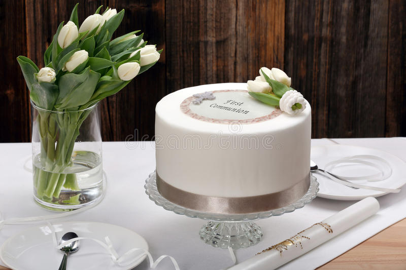 First holy communion cake on the table stock photography