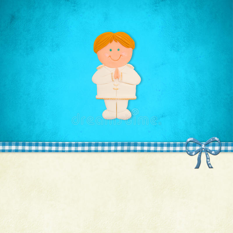 First Holy Communion card, blonde boy vector illustration