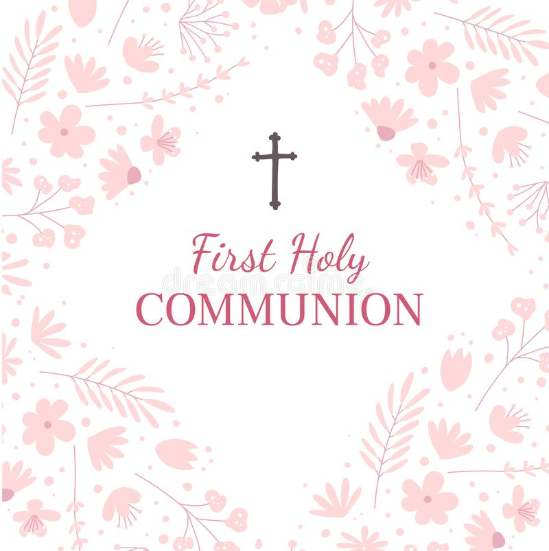 First holy communion greeting card design template royalty free illustration