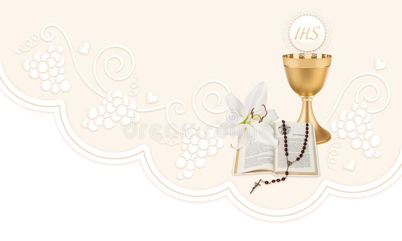 The first Holy Communion, an illustration with a cup, a host, bible, lily and rosary vector illustration