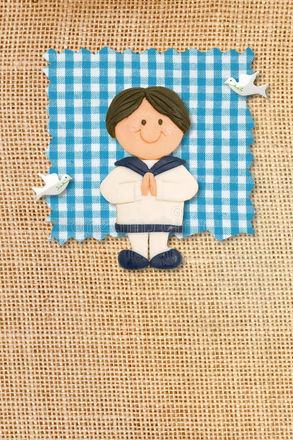 First Holy Communion Invitation Card, Boy Royalty Free Stock Image
