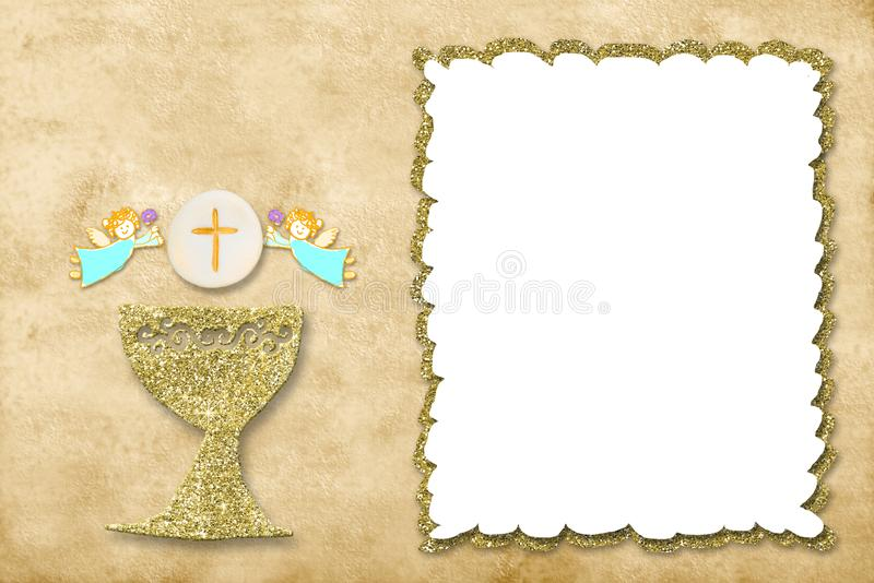 First holy communion invitation card photo frame. First holy communion invitation card.Golden chalice and angels on sepia tone  paper background with white photo stock image