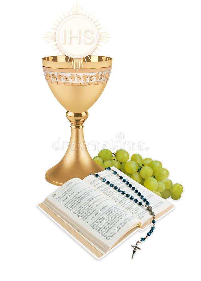 First holy communion. First holy sommunion, illustation with chalice, host, wine, book and rosary royalty free stock photos