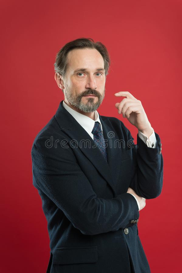 First impression concept. Businessman fashionable outfit. Attractive man wear suit. Perfect elegant tuxedo outfit stock photography