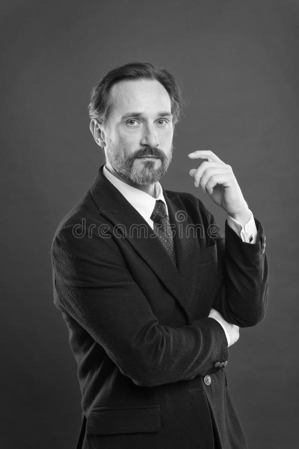 First impression concept. Businessman fashionable outfit. Attractive man wear suit. Perfect elegant tuxedo outfit stock image