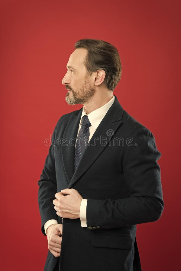 First impression concept. Impeccable style. Businessman fashionable outfit. Attractive man wear suit. Perfect elegant royalty free stock image