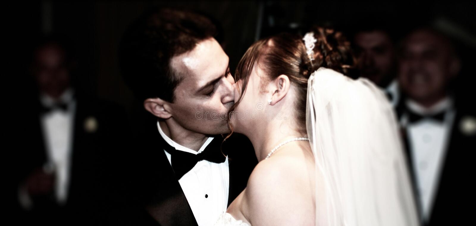 First kiss as husband and wife stock images