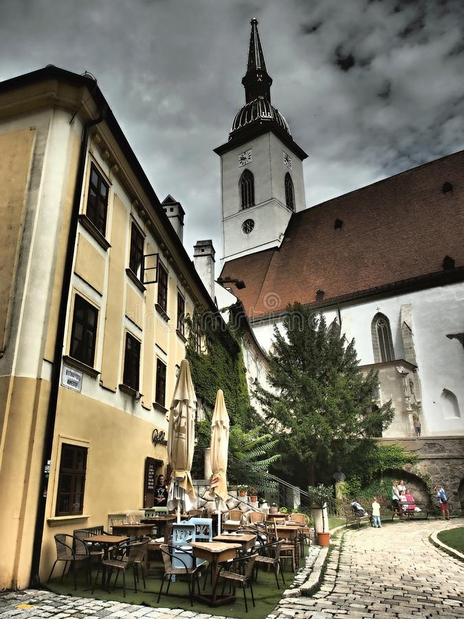 Bratislava is the political, cultural and economic centre of Slovakia. The first known permanent settlement of the area began with the Linear Pottery Culture stock images