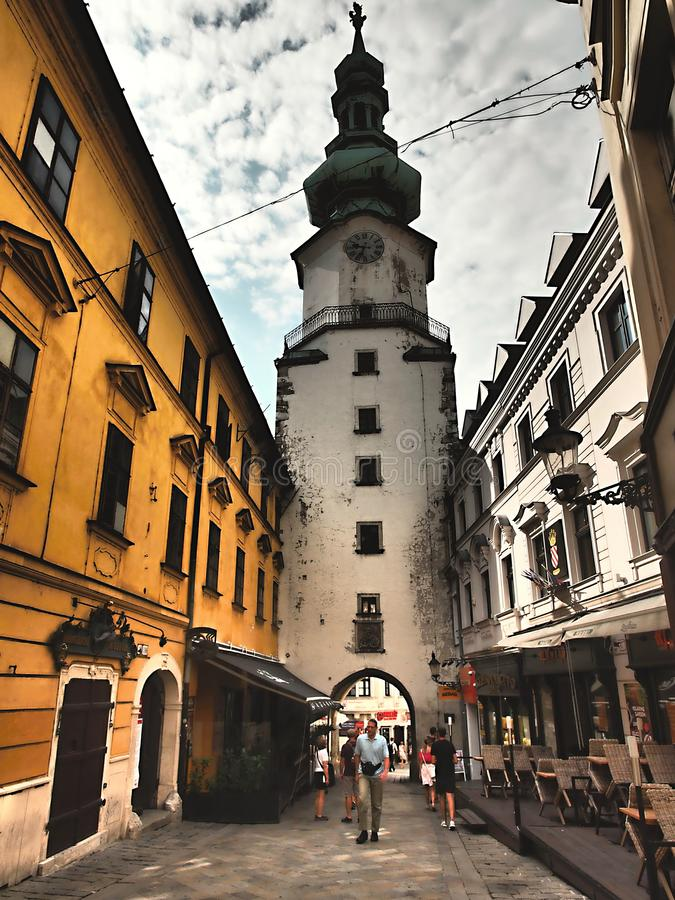 Bratislava is the political, cultural and economic centre of Slovakia. The first known permanent settlement of the area began with the Linear Pottery Culture stock photo